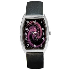 A Pink Purple Swirl Fractal And Flame Style Barrel Style Metal Watch