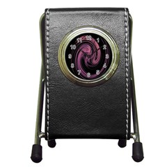 A Pink Purple Swirl Fractal And Flame Style Pen Holder Desk Clocks
