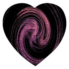 A Pink Purple Swirl Fractal And Flame Style Jigsaw Puzzle (Heart)