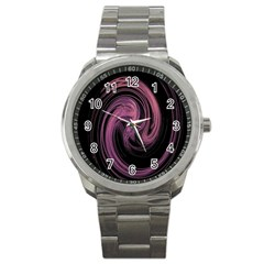 A Pink Purple Swirl Fractal And Flame Style Sport Metal Watch