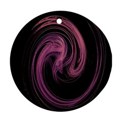 A Pink Purple Swirl Fractal And Flame Style Round Ornament (Two Sides)