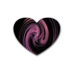 A Pink Purple Swirl Fractal And Flame Style Rubber Coaster (heart)