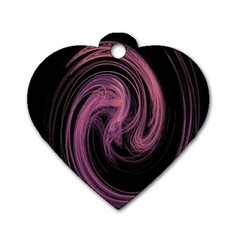 A Pink Purple Swirl Fractal And Flame Style Dog Tag Heart (two Sides)