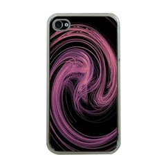 A Pink Purple Swirl Fractal And Flame Style Apple Iphone 4 Case (clear)