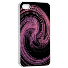 A Pink Purple Swirl Fractal And Flame Style Apple iPhone 4/4s Seamless Case (White)