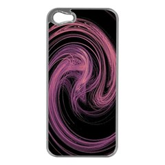 A Pink Purple Swirl Fractal And Flame Style Apple iPhone 5 Case (Silver)