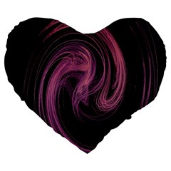 A Pink Purple Swirl Fractal And Flame Style Large 19  Premium Heart Shape Cushions