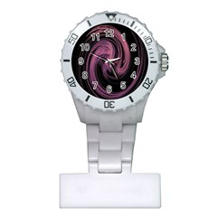 A Pink Purple Swirl Fractal And Flame Style Plastic Nurses Watch