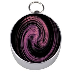 A Pink Purple Swirl Fractal And Flame Style Silver Compasses