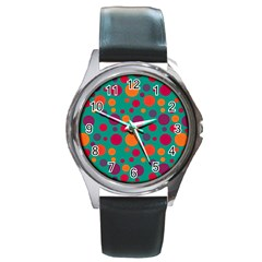 Polka dots Round Metal Watch