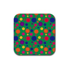 Polka dots Rubber Square Coaster (4 pack)