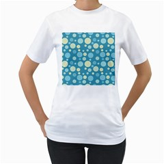 Polka dots Women s T-Shirt (White) (Two Sided)