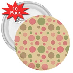 Polka dots 3  Buttons (10 pack)