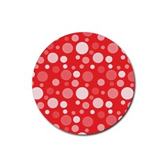Polka dots Rubber Round Coaster (4 pack)