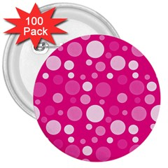 Polka dots 3  Buttons (100 pack)
