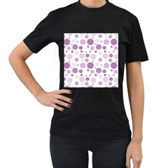 Polka dots Women s T-Shirt (Black) (Two Sided)
