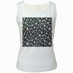 Pattern Women s White Tank Top
