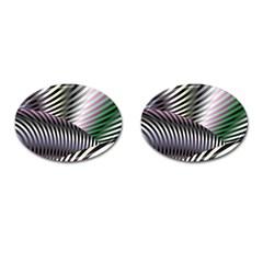 Fractal Zebra Pattern Cufflinks (Oval)