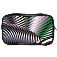 Fractal Zebra Pattern Toiletries Bags 2 Side