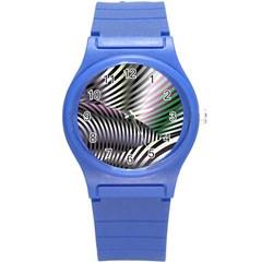 Fractal Zebra Pattern Round Plastic Sport Watch (s)