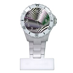 Fractal Zebra Pattern Plastic Nurses Watch