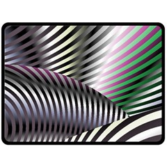 Fractal Zebra Pattern Double Sided Fleece Blanket (Large)