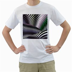 Fractal Zebra Pattern Men s T-Shirt (White)