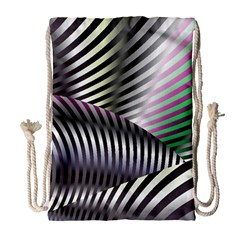 Fractal Zebra Pattern Drawstring Bag (Large)
