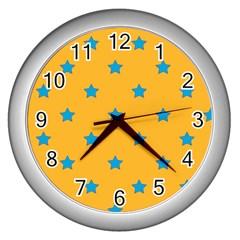 Stars pattern Wall Clocks (Silver)