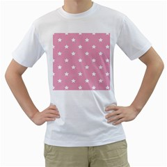 Stars pattern Men s T-Shirt (White) (Two Sided)