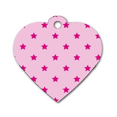 Stars pattern Dog Tag Heart (Two Sides)