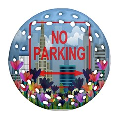 No Parking  Round Filigree Ornament (two Sides)
