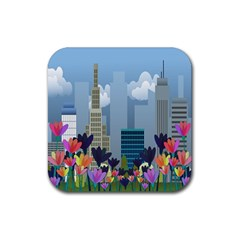 Urban nature Rubber Coaster (Square)