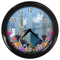 Urban nature Wall Clocks (Black)