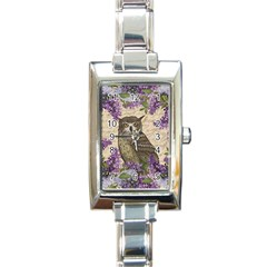 Vintage owl and lilac Rectangle Italian Charm Watch