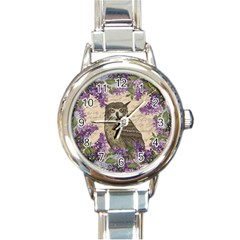 Vintage owl and lilac Round Italian Charm Watch