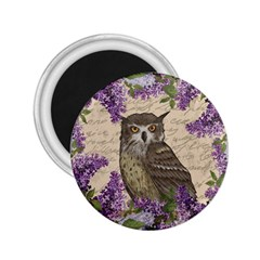 Vintage owl and lilac 2.25  Magnets