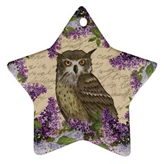 Vintage owl and lilac Ornament (Star)