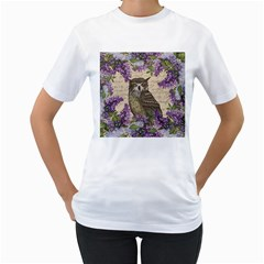 Vintage owl and lilac Women s T-Shirt (White) (Two Sided)