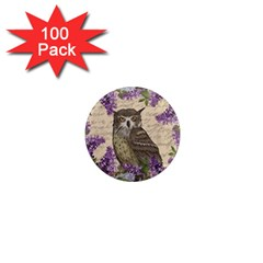 Vintage owl and lilac 1  Mini Magnets (100 pack)