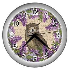 Vintage owl and lilac Wall Clocks (Silver)