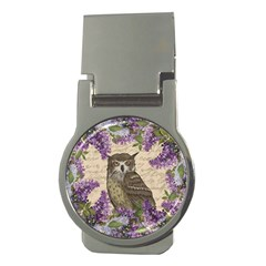 Vintage owl and lilac Money Clips (Round)