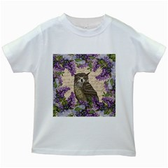 Vintage owl and lilac Kids White T-Shirts