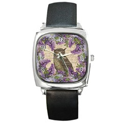 Vintage owl and lilac Square Metal Watch
