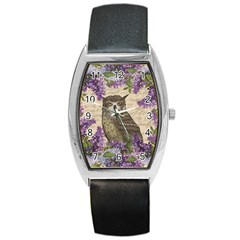 Vintage owl and lilac Barrel Style Metal Watch