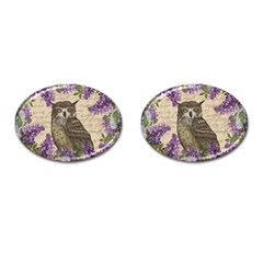 Vintage owl and lilac Cufflinks (Oval)