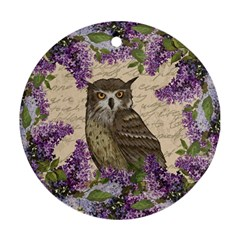 Vintage owl and lilac Round Ornament (Two Sides)