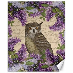 Vintage owl and lilac Canvas 11  x 14