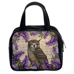 Vintage owl and lilac Classic Handbags (2 Sides)