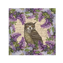 Vintage owl and lilac Small Satin Scarf (Square)